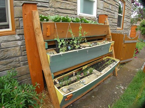 Vertical Salvaged Lumber Garden