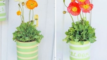 7) Recycled Paint Can Planters