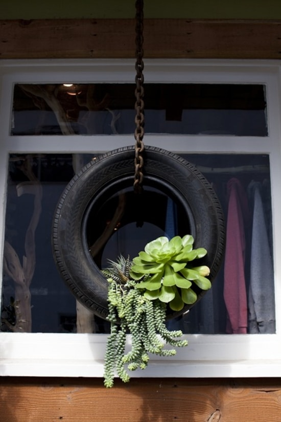 9) Hanging Planter of a Tire