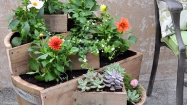 11) DIY recycled barrel planter