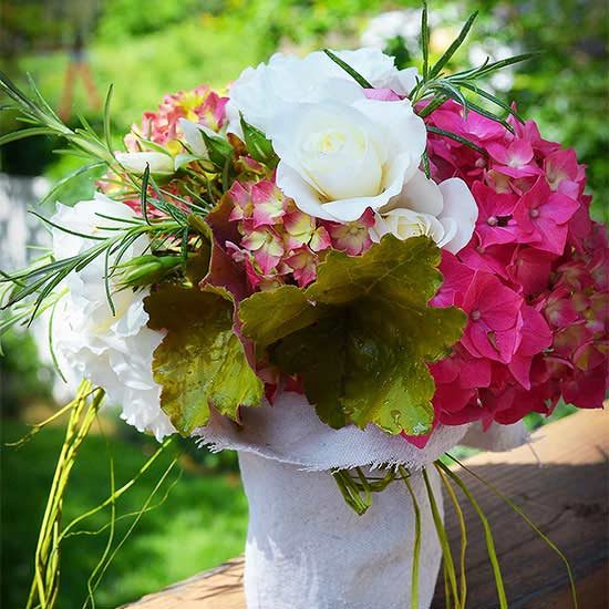 Combination of Rosemary and Heuchera and Hydrangea as your floral arrangement