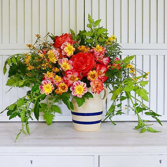 Induction of Rose and Tomato greens as your floral arrangement