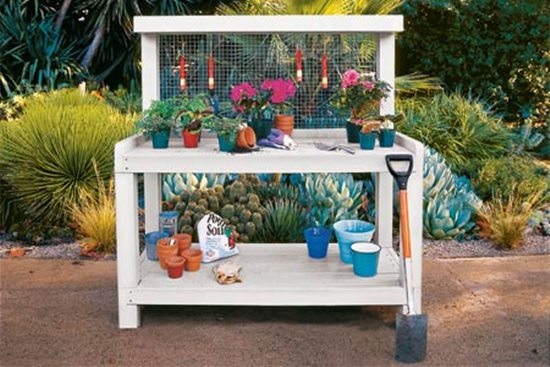 Three level in style potting bench